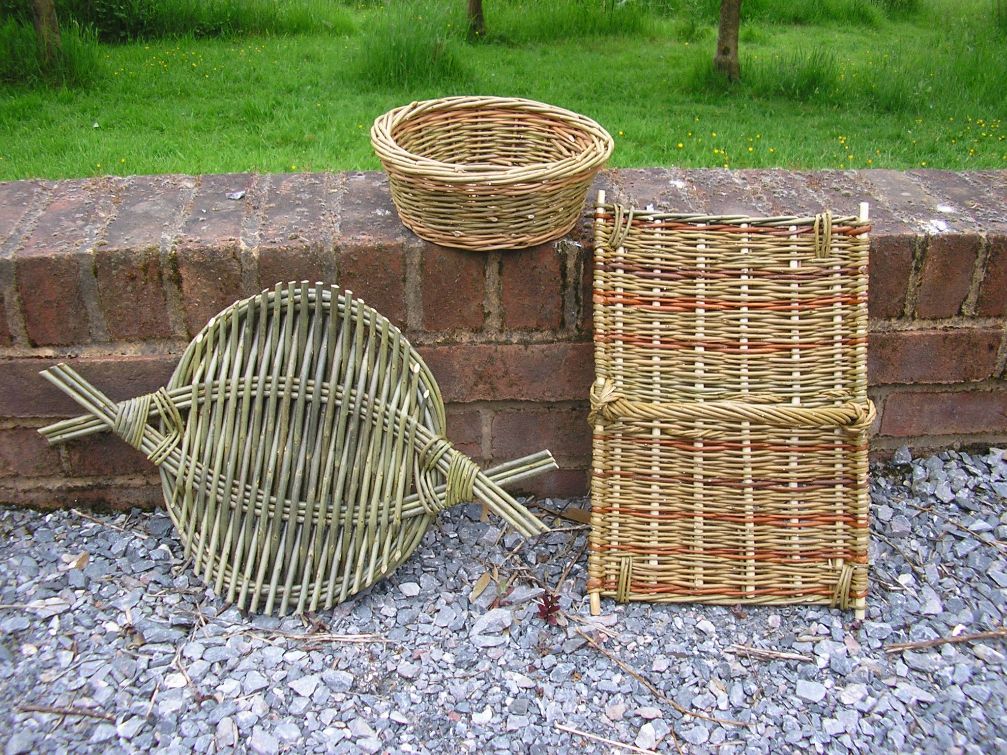 Willow craft: the cheese tray, stick platter and simple round basket