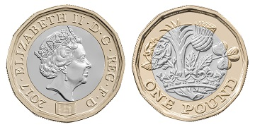 The new £1 coin has 12 sides and on one side features an attractive design depicting the English rose, the Welsh leek, the Scottish thistle and the Northern Irish shamrock emerging from one stem within a royal coronet, while on the reverse is a portrait of HM The Queen