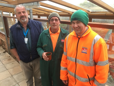Taking up the seed growing challenge, from left to right are: Carl Beckett, Alan Fowler and Noel Sinker in the glasshouse at Connaught Gardens in Sidmouth