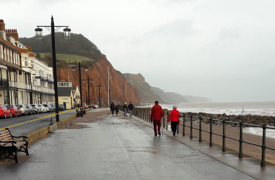 The dotted line on this photo of Sidmouth's seafront shows how high the raised splash wall could be - the council wants to hear ideas from people as to how the splash wall could be enhanced