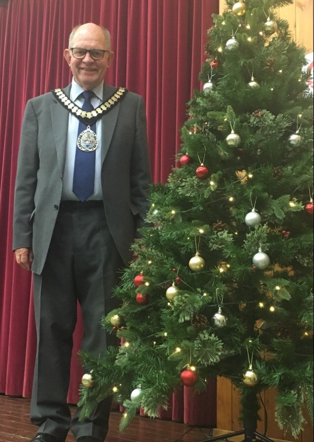 East Devon District Council chairman, Cllr Andrew Moulding, at the Civic Carol Service in Musbury