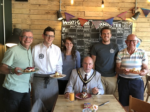 Left to right: Cllr Ian Hall (ward member), Waffle directors Tim Whiteway and Sophie McLachlan, Cllr Stuart Hughes (East Devon Chairman), Waffle director Matt Smith and Cllr Andrew Moulding (ward member)