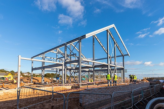 Construction of the watersport centre's steel frame is now complete