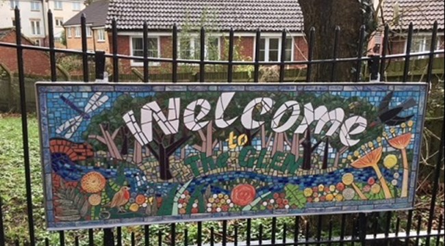 The Glen's attractive new mosaic sign features plants and wildlife that are native to this popular nature reserve