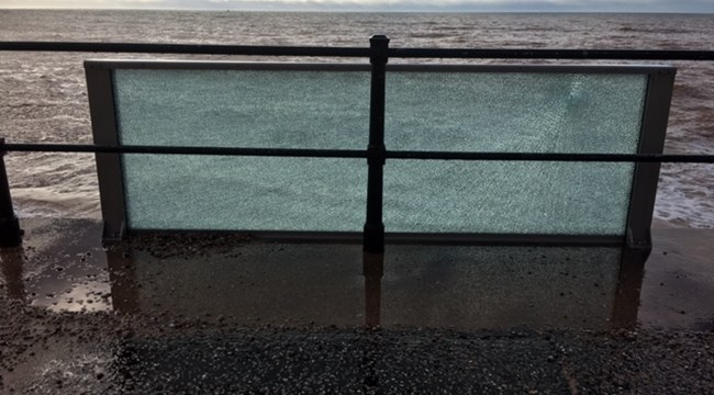 Statement: Glass splash panel on Sidmouth esplanade subjected to criminal damage
